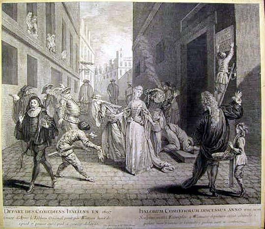 La cacciata dei comici italiani da Parigi_1697_Incisione di Louis Jacob da un quadro di Antoine Watteau