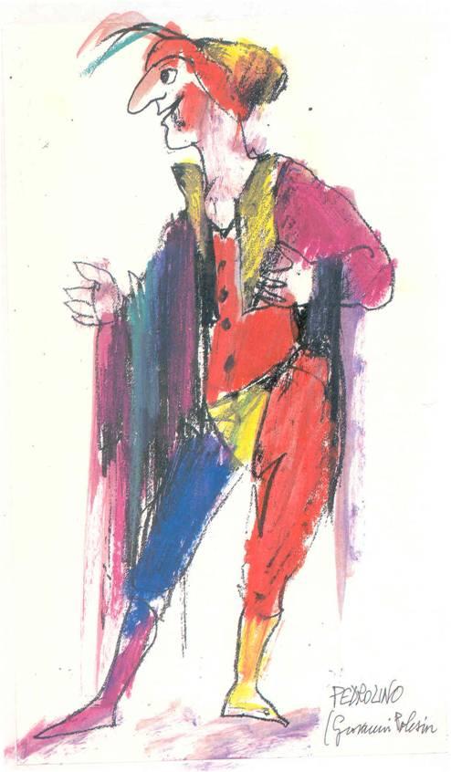 Lele Luzzati, figurino per costume (Isabella comica gelosa, 1971)