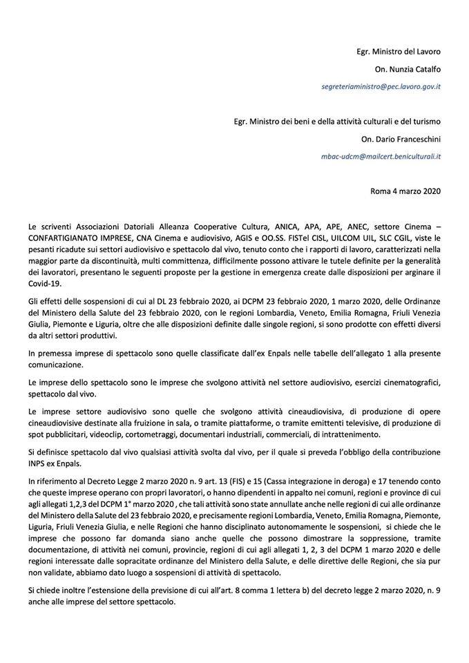 Nunzia Catalfo e al ministro dei Beni e delle Attività Culturali e del Turismo Dario Franceschini del 4 marzo 2020