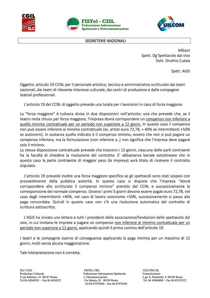 I sindacati sull'art. 19 del CCNL (1)