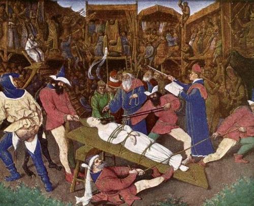 Jean Fouquet, Martirio di Sant'Apollonia nel Libro d'Ore di Etienne Chevalier (1452-60).
