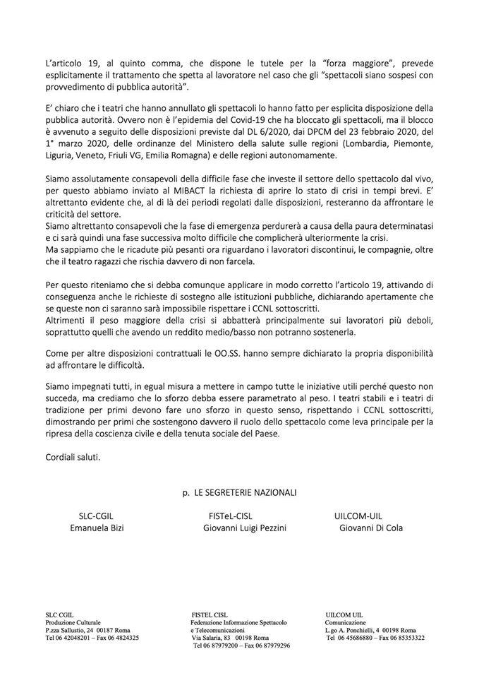 I sindacati sull'art. 19 del CCNL (2)